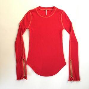 Free People Thermal Top Zippered Sleeves